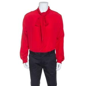 Gucci Red Silk Tie Neck Detail Shirt XXL