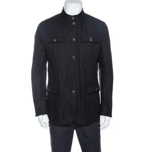 Gucci Black Cotton Twill Button Front Coat M