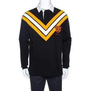 Gucci Black Chevron & Leopard Appliqued Cotton Polo T-Shirt M