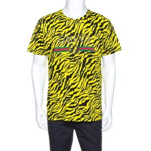 Gucci Yellow and Black Tiger Stripe Print Cotton T-Shirt XS