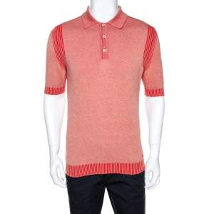 Gucci Red Knit Washed Out Effect Polo T-Shirt L