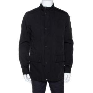 Gucci Black Cotton Blend Zip Front Coat M
