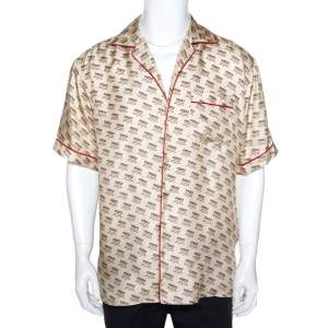Gucci Beige Invite Stamp Print Silk Satin Bowling Shirt XL