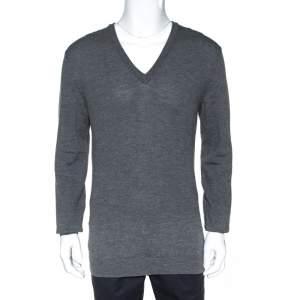 Gucci Grey Wool Shoulder Striped Detail V Neck Sweater XL