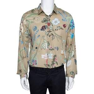 Gucci Beige Cotton Floral Print Duke Shirt XS