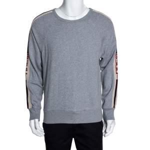 Gucci Grey Cotton Logo Tape Detail Sweatshirt S