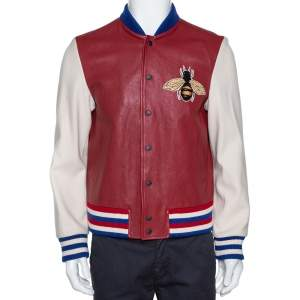 Gucci Burgundy Leather 'Blind for Love' Varsity Bomber Jacket L
