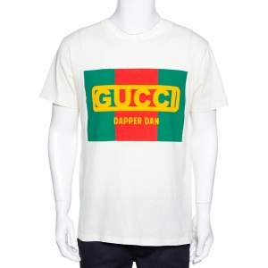 Gucci Cream Cotton Dapper Dan Round Neck T Shirt M