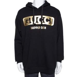 Gucci Black Dapper Dan Print Cotton Hooded Sweatshirt M