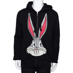 Gucci Black Bugs Bunny Embroidered Cotton Zip Up Sweatshirt M