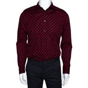 Gucci Red & Black Checkered Cotton Long Sleeve Slim Fit Shirt M