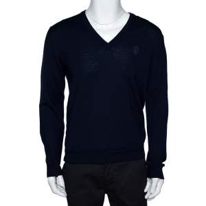 Gucci Navy Blue Wool Hysteria Crest V-Neck Sweater M
