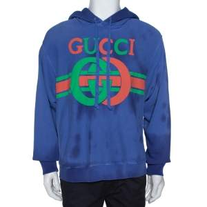 Gucci Blue Washed Out Effect Cotton Knit Interlocking GG Print Hoodie M