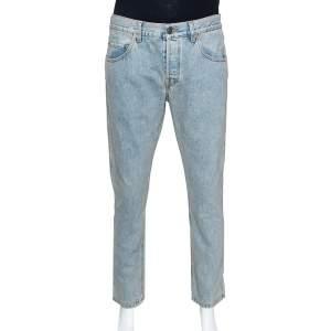 Gucci Pale Blue Heavy Washed Denim Slim Fit Jeans XL