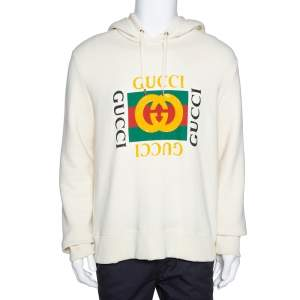 Gucci Cream Vintage Logo Print Cotton Distressed Hoodie M