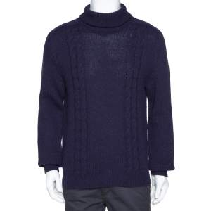 Gucci Navy Blue Cashmere Wool Logo Embroidered Roll Neck Sweater M