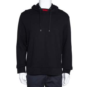 Gucci Black Cotton Jersey Web Detail Hooded Sweatshirt L