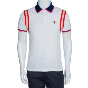 Gucci White Stretch Cotton Bee Appliqued Polo T-Shirt M