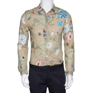 Gucci Beige Floral Print Cotton Long Sleeve Duke Shirt M