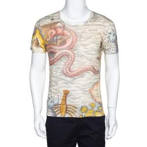 Gucci Cream Sea Map Print Linen Crew Neck T-Shirt S