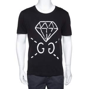 Gucci Black Guccighost Print Cotton Crew Neck T-Shirt S