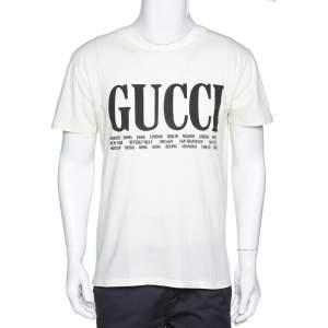 Gucci Cream Gucci Cities Print Cotton Crew Neck T-Shirt S