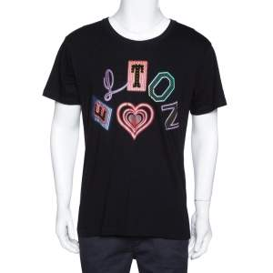 Gucci X Elton John Black Elton Print Cotton Distressed T-Shirt S