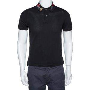 Gucci Black Stretch Cotton Snake Embroidered Collar Polo T-Shirt M