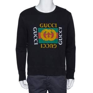Gucci Black Vintage Logo Print Cotton Distressed Effect Sweatshirt S