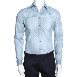 Gucci Powder Blue Paisley & Dot Print Cotton Slim Fit Shirt XS