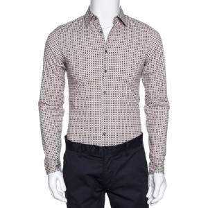 Gucci Cream Printed Cotton Long Sleeve Slim Fit Shirt S