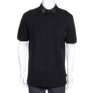 Gucci Black Cotton Pique Leather Collar Polo T-Shirt XXL