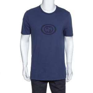 Gucci Navy Blue Logo Print Cotton Crew Neck T-Shirt XXL