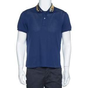 Gucci Navy Blue Cotton Pique Tiger Embroidered Collar Polo T Shirt M