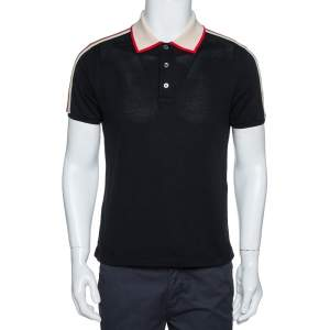 Gucci Black Cotton Pique Webstripe Logo Detail Polo T Shirt M