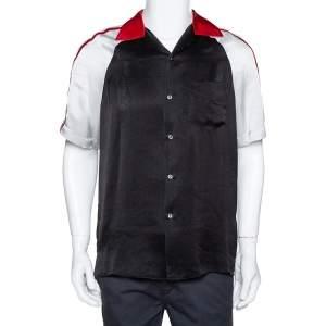 Gucci Black Satin Contrast Logo Panel Bowling Shirt M