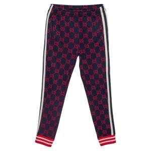 Gucci Navy Blue Knit GG Jacquard Fitted Joggers XS