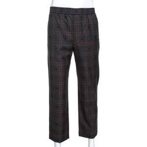 Gucci Grey Symbols Check Wool Elasticized Waist Pants L