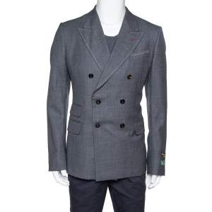 Gucci Grey Wool Stitch Detail New Signoria Jacket XXL