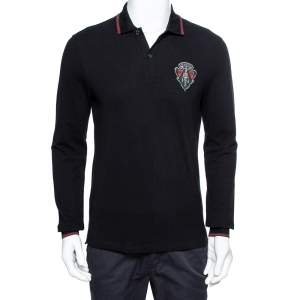 Gucci Equestrian Black Cotton Pique Long Sleeve Polo T-Shirt M