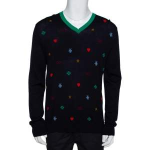Gucci Navy Blue Wool Multi Motif V-Neck Jumper XL