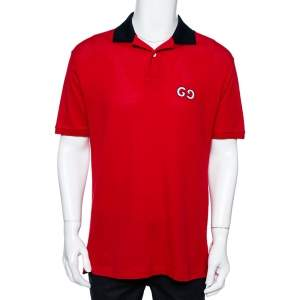 Gucci Red Cotton Pique GG Embroidered Polo T-Shirt S