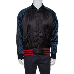 Gucci Black Satin Eagle Embroidered Bomber Jacket L