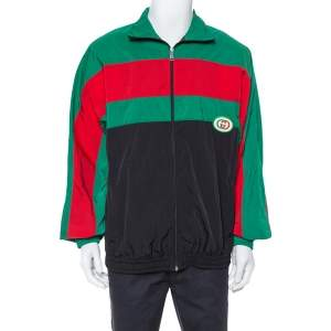 Gucci Black Striped Nylon Oversized Jacket L