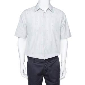 Gucci Pale Green Striped Cotton G Detail Short Sleeve Shirt M