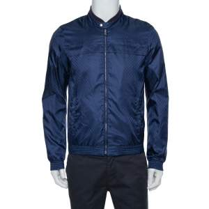 Gucci Navy Blue GG Monogram Pattern Bomber Jacket S