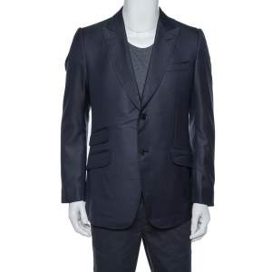 Gucci Navy Blue Textured Silk Wool Tailored Blazer XL