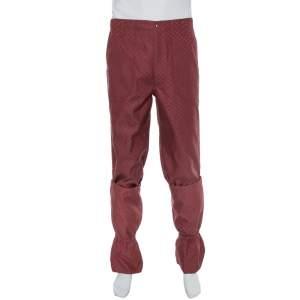Gucci Burgundy Cotton Jacquard Elastic Detailed Ski Pants S