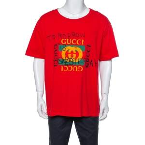 تي شيرت غوتشي رقبة مستديرة طباعة شعار تومورو إيز ناو ياسترداي قطن أحمر 3XL