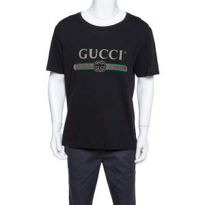 Gucci Black Cotton Washed Out Effect Logo Printed Crewneck T Shirt L
